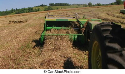 Square Baling Hay 02 - Square baling hay with accumulator,...