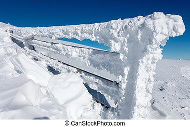 Frozen handrail - Frozen fence in Low Tatras, Slovakia