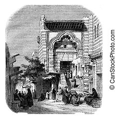 View of the mosque el-Moyed in Cairo, vintage engraving. -...