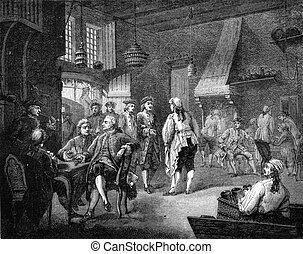 Cabaret in the eighteenth century, under Louis XV, Musee du...