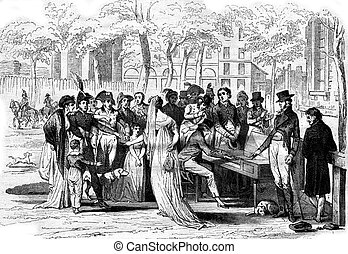 A concert at the Champs Elysees in the consulate, vintage engraving.