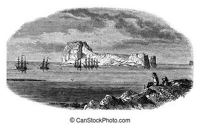View of rock Carabousa taken of the extremity of Cape Bousa...