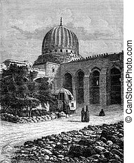 The Mosque of Sultan Barkuk in Cairo, vintage engraving -...