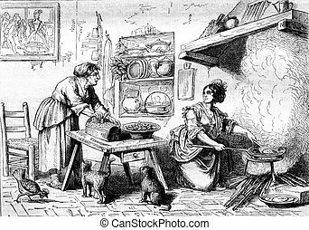 A meal in the alcove Nuccia, vintage engraving. - A meal in...