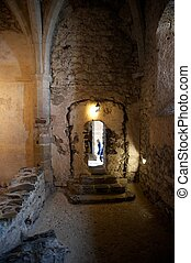 Arched Doorway in a Medieval Castle - An arched doorway in a...