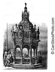 Oak baptistery of the church of Guimiliau, Finistere,...