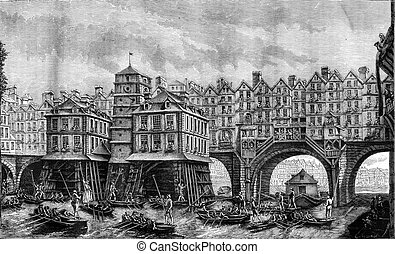 Eighteenth century, Fight boatmen on the Seine, in Paris,...