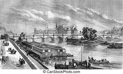 View of the Pont Neuf restored, vintage engraving. - View of...