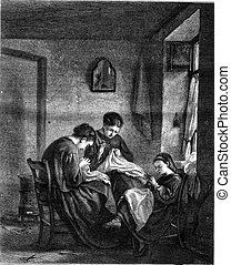 Three stitchers, by Edouard Frere, vintage engraving. -...