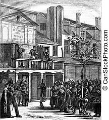 Parade on the Boulevard du Temple to 1816, vintage engraving...