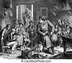 The Cobbler of Portsmouth, vintage engraving. - The Cobbler...