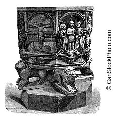 Baptismal font of the church of Luxeuil, vintage engraving....