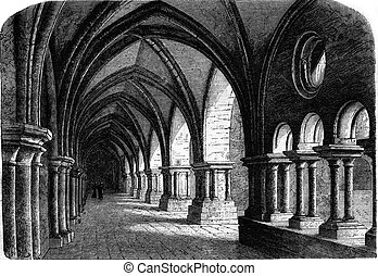 Northern wing of the cloister of the abbey of Luxeuil,...