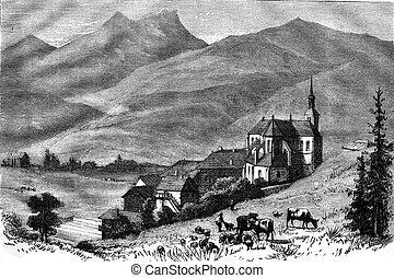 The Abbey of Abondance, Haute Savoie, vintage engraving. -...