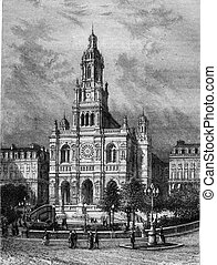 Trinity Church in Paris, vintage engraving - Trinity Church...