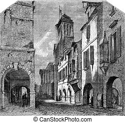 La Rochelle, Street Bishopric and the cloister St...