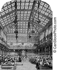 Interior view of the House of Commons, vintage engraving -...