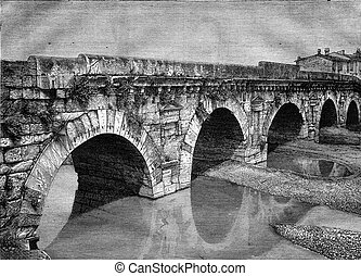 The Bridge of Augustus in Rimini, vintage engraving. - The...