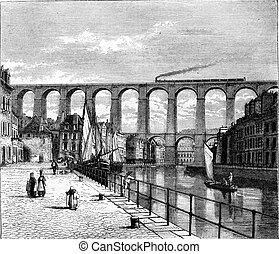 The Viaduct Morlaix, vintage engraving. - The Viaduct...