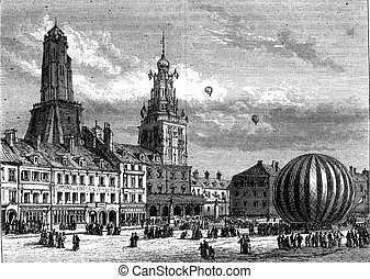 August 16, 1868, Neptune balloon out of the Place dArmes,...