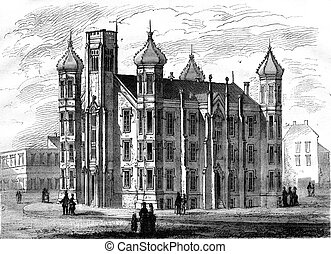 College of St Louis Missouri, vintage engraving - College of...
