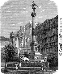 Victory Column on the Place des Martyrs in Naples, vintage...