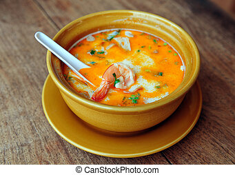 Thai Tom Yum Soup - Bowl of spicy Thai Tom Yum Soup