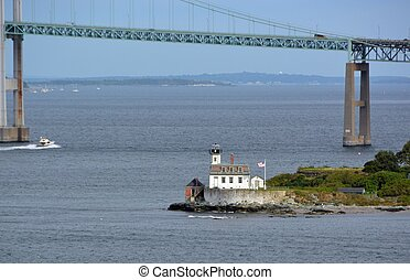 Rose Island Light House - view across Newport harbor toward...