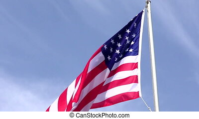 American Flag Waving in the wind, full hd video