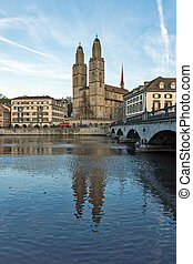 Church of Grossmunster, Zurich - Church of Grossmunster and...