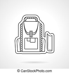 Flat line style school backpack vector icon - Items and...