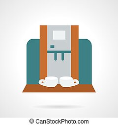 Making coffee for two flat vector icon - Stylish colored...