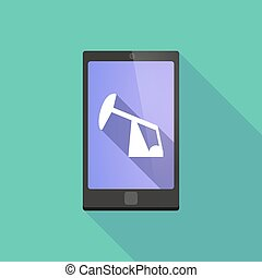 Long shadow phone icon with a horsehead pump - Illustration...