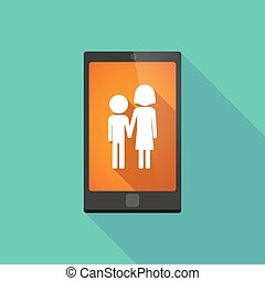 Long shadow phone icon with a childhood pictogram -...
