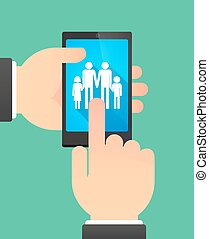 Hands using a phone showing a gay parents family pictogram -...