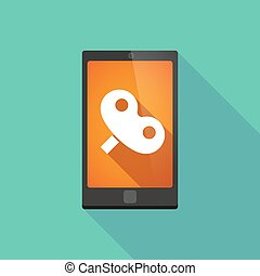 Long shadow phone icon with a toy crank - Illustration of a...