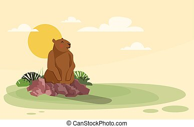 Groundhog Day Animal Wake Up Spring Holiday Flat Vector...