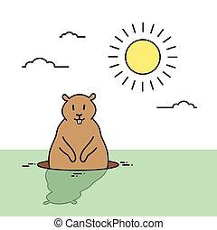 groundhog, giorno, animale, scia, su, primavera, vacanza,