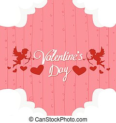 Valentine Day Gift Card Holiday Love Heart Shape Angel Flat...