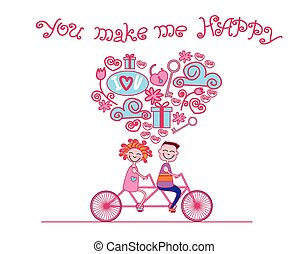 Couple Love Ride Tandem Bicycle Card Happiness - Couple Love...