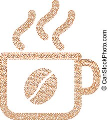 Coffee cup vector composition with coffee beans - Coffee cup...