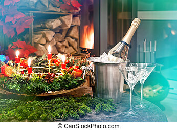 Candlelight dinner Festive decoration for christmas and new...