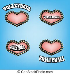 set heart of volleyball