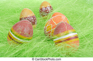 Easter Eggs - Painted brown Easter Eggs on green Grass