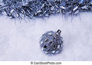 christmas ball with snow