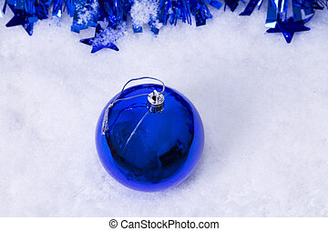 Christmas balls in the snow