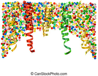 Party decoration Confetti and colorful streamer over white...