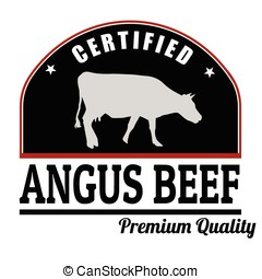 Angus beef stamp - Angus beef label or stamp on white...
