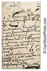 Old post mail with handwritten text. Paper texture - Old...