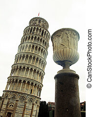 Pisa Leaning Tower, Italy - Vase and Pisa Leaning Tower on...